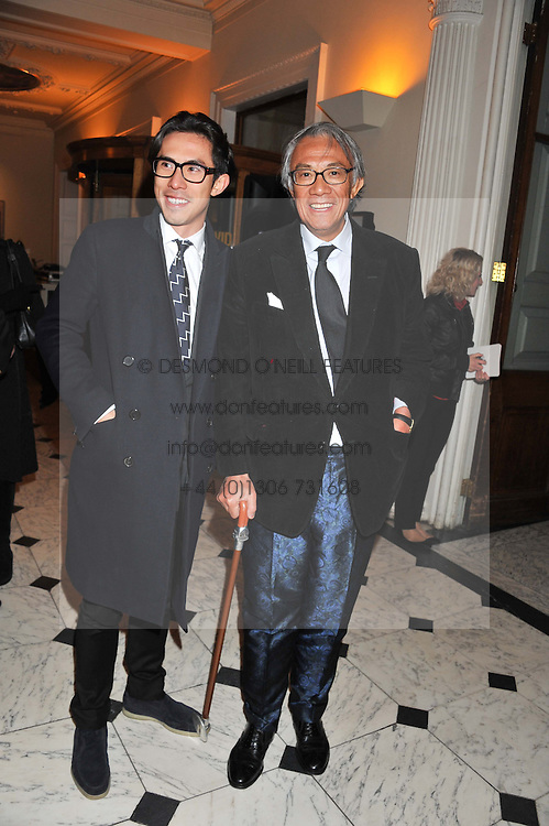 Left to right, EDWARD TANG and SIR DAVID TANG at a private view to celebrate the opening of the Royal Academy's exhibition of work by David Hockney held at The Royal Academy, Burlington House, Piccadilly, London on 17th January 2012.