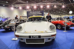© Licensed to London News Pictures. 18/02/2016.  A  Porsche 911 car on display at the launch of the London Classic Car Show.  The four day event brings together classic car owner, dealers, collectors, experts and enthusiasts. London, UK. Photo credit: Ray Tang/LNP