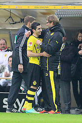 "01.03.2014, Signal Iduna Park, Dortmund, GER, 1. FBL, Borussia Dortmund vs 1. FC Nuernberg, 23. Runde, im Bild Trainer Juergen Klopp (Borussia Dortmund) gut gelaunt am Lachen mit Henrikh ""Micki"" Mkhihtaryan (Borussia Dortmund #10) bei dessen Auswechselung, Emotion, Freude, Glueck, Positiv // during the German Bundesliga 23th round match between Borussia Dortmund and 1. FC Nuernberg at the Signal Iduna Park in Dortmund, Germany on 2014/03/01. EXPA Pictures © 2014, PhotoCredit: EXPA/ Eibner-Pressefoto/ Schueler<br /> <br /> *****ATTENTION - OUT of GER*****"