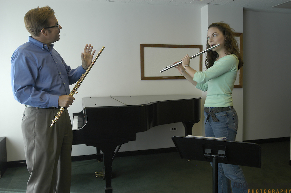 Megan Emigh, 17, right, of Haddonfield, New Jersey, takes her weekly private flute lesson with Dr. Bradley Garner in the Pre-College Division program at The Juilliard School, located at West 65th Street and Broadway in New York City, on Saturday, September 24, 2005. Students audition for spots in the prestigious program, in which they can study until they graduate from high school.