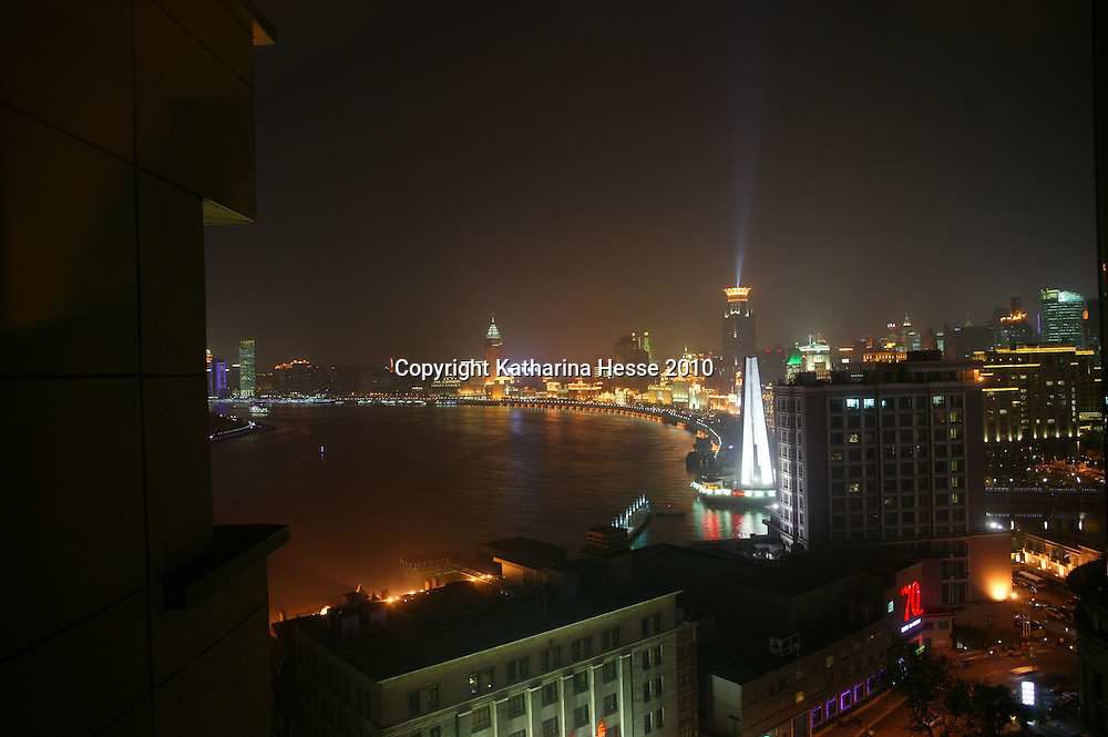 SHANGHAI, MAY-1, 2010 : A view over the Bund the night of the World Expo launch.