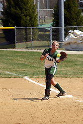 05 April 2008: First base plyer Valeri Hackett pulls in a throw to first for an out. The Carthage College Lady Reds lost the first game of this double header to the Titans of Illinois Wesleyan 4-1 at Illinois Wesleyan in Bloomington, IL
