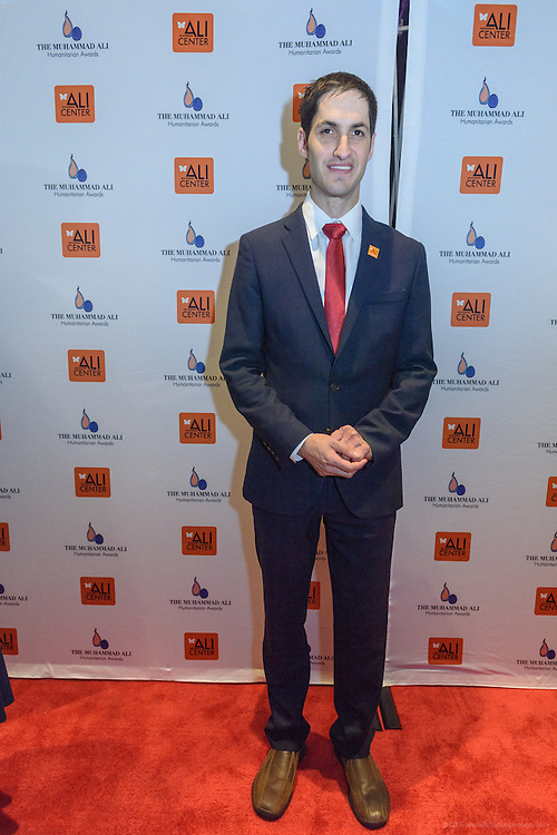 Eli A. Wolff, co-founder of the Sport and Development Project at Brown University, on the red carpet at the fourth annual Muhammad Ali Humanitarian Awards Saturday, Sept. 17, 2016 at the Marriott Hotel in Louisville, Ky. (Photo by Brian Bohannon for the Muhammad Ali Center)