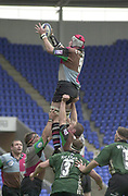 14/04/2002.Sport - Rugby Union.Madjeski Stadium - Reading.Zurich Premiership.London Irish vs Harlequins.Quins Alex Codling wins the line out ball....