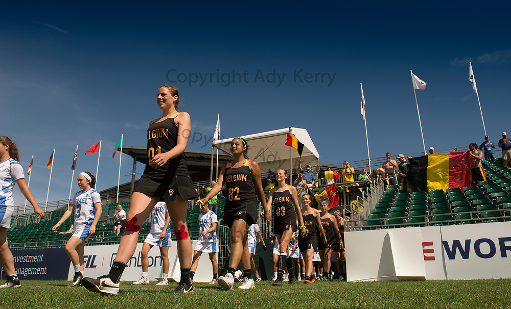Belgium's Lieze Pelemans leads out the side against Israel at the 2017 FIL Rathbones Women's Lacrosse World Cup, at Surrey Sports Park, Guildford, Surrey, UK, 1th July 2017.