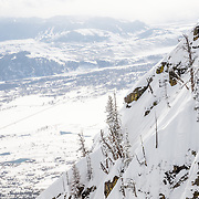 Tigger Knecht skiing inbounds powder at Jackson Hole Mountain Resort.
