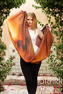 """Michel Womens Silk Scarf - Wearable Art Catalog, designed by artist Stephen Moody in Scottsdale, AZ from the artwork """"Art In Its Most Human Form""""TM.  Moody's art is available for purchase on Canvas, watercolor paper and silk wearable art."""