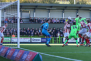 Forest Green Rovers Joseph Mills(23) heads the ball scores a goal 1-1 during the EFL Sky Bet League 2 match between Forest Green Rovers and Cheltenham Town at the New Lawn, Forest Green, United Kingdom on 20 October 2018.
