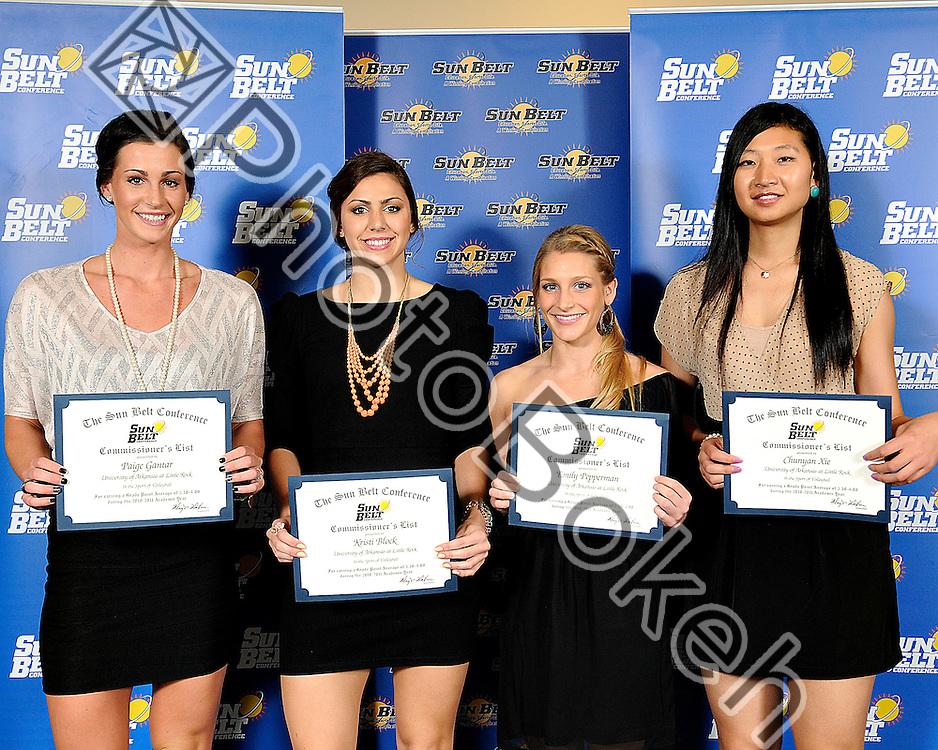 2011 November 16 - University of Arkansas Little Rock Kristi Block, Paige Gantar, Emily Pepperman, and Chunyan Xie recognized for the Commissioner's List Awards. .Florida International University hosted the 2011 Sunbelt Volleyball Banquet at the Stadium Club in Alfonso Field, Miami, Florida. (Photo by: www.photobokeh.com / Alex J. Hernandez) 1/250 f/4 ISO400 39mm
