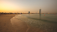 Sunset - Burj Al Arab panorama view from Jumeirah public beach