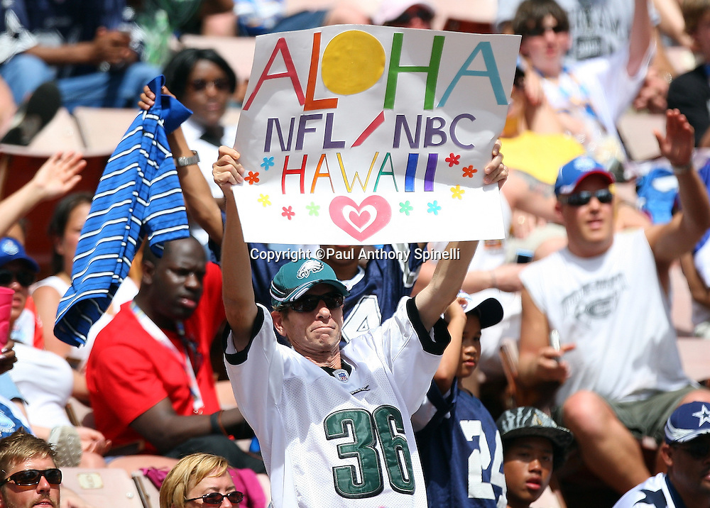 HONOLULU, HI - FEBRUARY 08: A fan holds up a sign saying goodbye to the NFL at the 2009 NFL Pro Bowl between the NFC All-Stars and the AFC All-Stars at Aloha Stadium on February 8, 2009 in Honolulu, Hawaii. The NFC defeated the AFC 30-21. ©Paul Anthony Spinelli