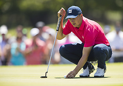 May 26, 2018 - Fort Worth, TX, USA - FORT WORTH, TX - MAY 26, 2018 - Jordan Spieth lines up a birdie putt on the 7th hole during the third round of the 2018 Fort Worth Invitational PGA at Colonial Country Club in Fort Worth, Texas (Credit Image: © Erich Schlegel via ZUMA Wire)