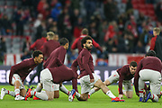 Liverpool forward Mohamed Salah (11) looks up during the Liverpool team warm-up during the Champions League match between Bayern Munich and Liverpool at the Allianz Arena, Munich, Germany, on 13 March 2019.