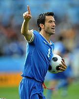 Christian Panucci Celebrates scoring Equaliser<br /> Italy Euro 2008<br /> Italy V Romania (1-1) Group C 13/06/08<br /> UEFA European Championships 2008<br /> Photo Robin Parker Fotosports International