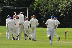 ROTHWELLS BOWLER SAM TULLEY CELEBRATES AFTER TAKING HIS SIXTH WICKET, ROTHWELL CRICKET CLUB v  NORTHAMPTON SAINTS  CC, Desborough  Road Rothwell  Saturday 25th June 2016