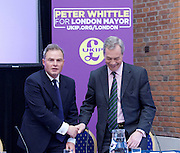 UKIP launch London Manifesto 2016 <br /> with Candidates for mayor and the London Assembly <br /> at the Emmanuel Centre, London, Great Britain <br /> 19th April 2016 <br /> <br /> Nigel Farage <br /> Leader of UKIP <br /> <br /> Peter Whittle <br /> Candidate for mayor of London <br /> <br /> <br /> <br /> <br /> <br /> <br /> Photograph by Elliott Franks <br /> Image licensed to Elliott Franks Photography Services