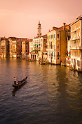 Evening light and gondola on the Grand Canal, Venice, Veneto, Italy