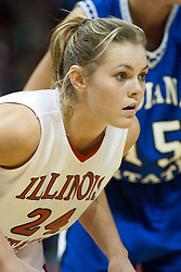 04 February 2006: Amber Shelton. The Indiana State Sycamores shook the Illinois State Redbirds from the nest with a 75-71 Victory.  There were 3,581 fans on hand, making the audience the  2nd largest women's basketball crowd ever in Redbird Arena on Illinois State University campus in Normal Illinois.