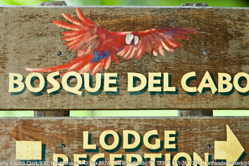 Sign to Bosque del cabo resort, Osa Peninsula, southern Costa rica.