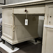 BOWIE, MD - MAY3: A desk from a Nazi medical center where mentally and physically handicapped people were processed for extermination is stored in the large artifacts vault at the U.S. Holocaust Memorial Museum's David and Fela Shapell Family Collections, Conservation and Research Center in Bowie, MD, May 3, 2017. The 80,000-square-foot Shapell Center is a state-of-the-art facility that will house the collection of record of the Holocaust, including historical artifacts, documents, photographs, film and other objects related to the Holocaust. (Photo by Evelyn Hockstein/For The Washington Post)