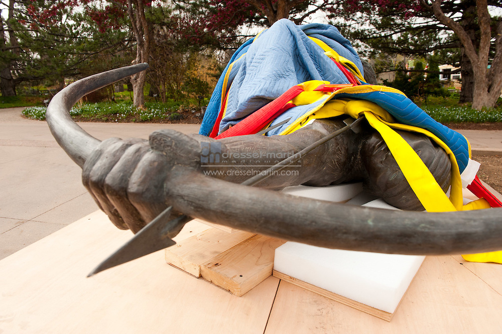 """Install Allan Houser piece """"Sacred Rain Arrow on Anna's Overlook."""
