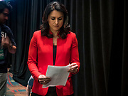 09 JUNE 2019 - CEDAR RAPIDS, IOWA: Congresswoman TULSI GABBARD (D-HI), left, waits to speak at the Iowa Democrats 2019 Hall of Fame Celebration in the Cedar Rapids Convention Center. Nineteen of the Democratic candidates for president in 2020 spoke at the annual event. Iowa traditionally hosts the the first election event of the presidential election cycle. The Iowa Caucuses will be on Feb. 3, 2020.                          PHOTO BY JACK KURTZ