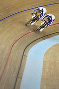 Beijing, CHINA.   Cycling, . Laosham Velodrome, 19.08.2008.  right,  Chris HOY, coming of the last bend, on the shoulder of  team mate, Jason KENNEY, rides through to take the Olympic, Men's Sprints title, [Mandatory Credit: Peter SPURRIER, Intersport Images