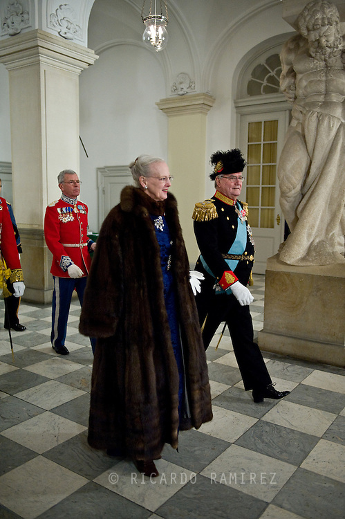 03.01.12. Copenhagen, Denmark.Queen Margrethe's II and Prince Henrik's arrival to Christiansborg Palace, for the New Year's Court for the Diplomatic Corps.Photo:© Ricardo Ramirez