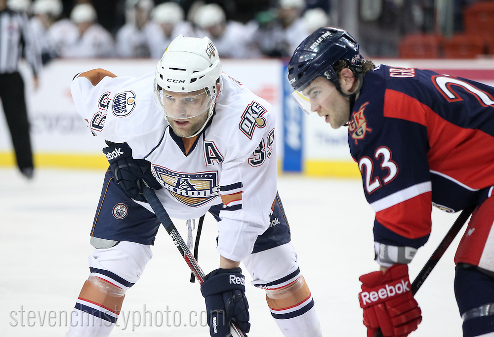March 15, 2014: The Oklahoma City Barons play the Grand Rapids Griffins in an American Hockey League game at the Cox Convention Center in Oklahoma City.
