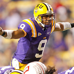 November 12, 2011; Baton Rouge, LA, USA;  LSU Tigers quarterback Jordan Jefferson (9) against the Western Kentucky Hilltoppers during the second half of a game at Tiger Stadium.  Mandatory Credit: Derick E. Hingle-US PRESSWIRE