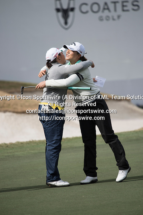 February 06, 2016: The two leaders embrace following the completion of their third round during the Coates Golf Championship in Ocala, FL. Both finished at 11 under. (Photograph by Roy K. Miller/Icon Sportswire)
