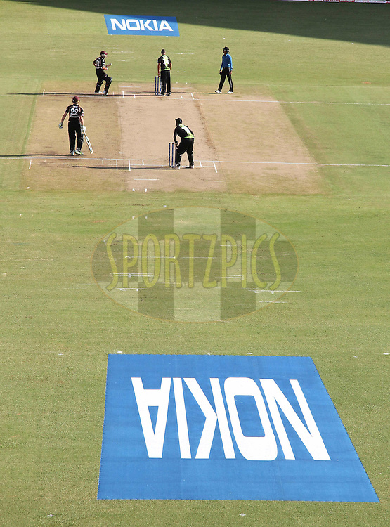 Sponsors branding during match 19 of the NOKIA Champions League T20 ( CLT20 )between the Warriors and Somerset held at the  M.Chinnaswamy Stadium in Bangalore , Karnataka, India on the 5th October 2011..Photo by Shaun Roy/BCCI/SPORTZPICS