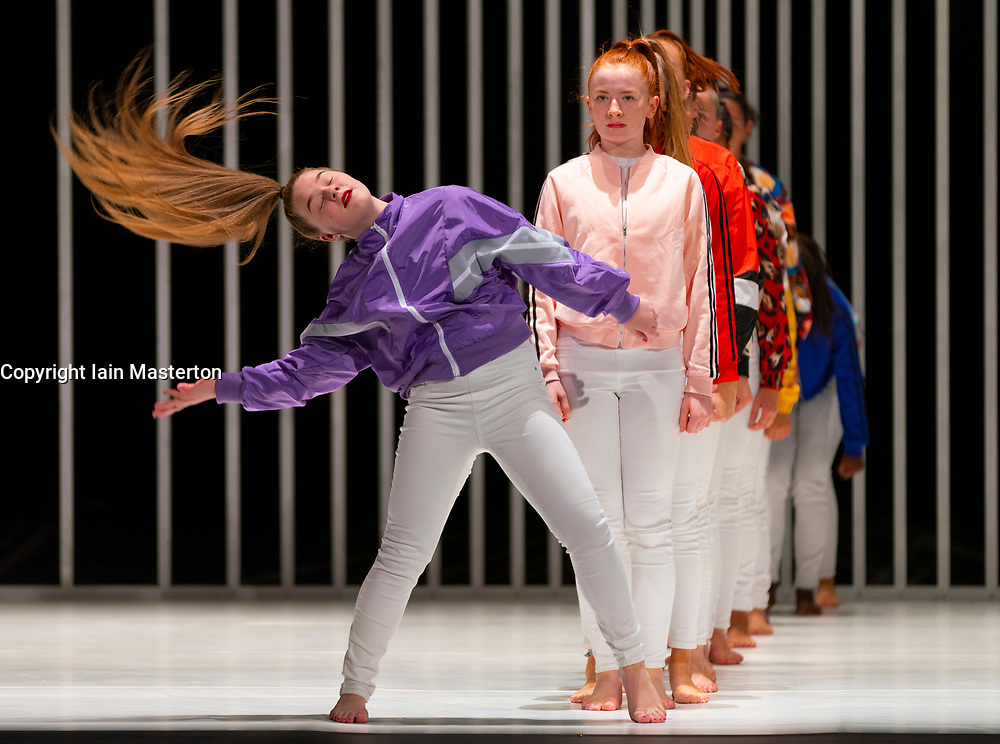 """Edinburgh, Scotland, UK. 21 August 2019.  Pictured; Young local dancers forming the Scottish """"Sugar Army"""" performing in Hard to Be Soft: A Belfast Prayer by Oona Doherty and Prime Cut Productions at the Lyceum Theatre at the Edinburgh International festival.<br /> Hard to Be Soft is a dance piece which looks behind the masks of violence and machismo to the inner lives of Belfast hard men and strong women.<br /> Cast in four episodes, Hard to Be Soft features solos from Doherty herself, a warrior-like hip-hop dance group, and a choreographed wrestling match for a male duet.  Iain Masterton/Alamy Live News."""