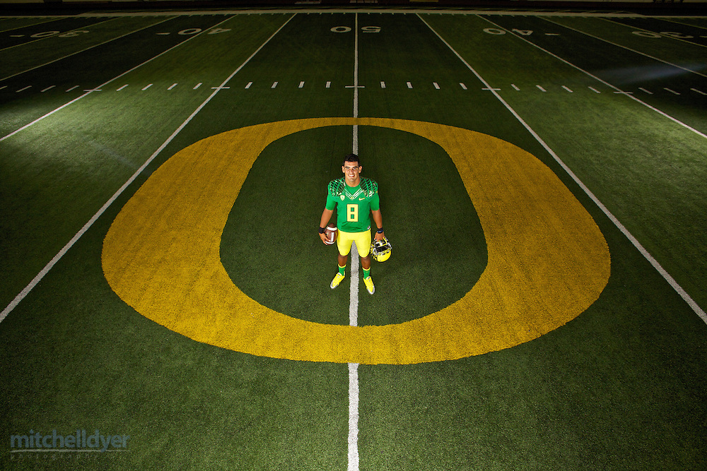 Oregon Ducks Quarterback Marcus Mariotta poses for a photo before the start of the 2014 season in Eugene, OR on August 15, 2014. <br />