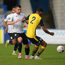 TELFORD COPYRIGHT MIKE SHERIDAN Aaron Williams of Telford battles for the ball with Reiss McNally during the Vanarama National League Conference North fixture between AFC Telford United and Guiseley on Saturday, October 19, 2019.<br /> <br /> Picture credit: Mike Sheridan/Ultrapress<br /> <br /> MS201920-026