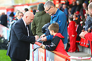 Accrington Stanley manager, John Coleman signs autographs during the EFL Sky Bet League 2 match between Accrington Stanley and Coventry City at the Fraser Eagle Stadium, Accrington, England on 14 October 2017. Photo by John Potts.