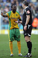 Leicester - Saturday, February 16th, 2008:  Mohammed Camara of Norwich City protests to referee Clive Oliver during the Coca Cola Champrionship match at the Walkers Stadium, Leicester. (Pic by Mark Chapman/Focus Images)