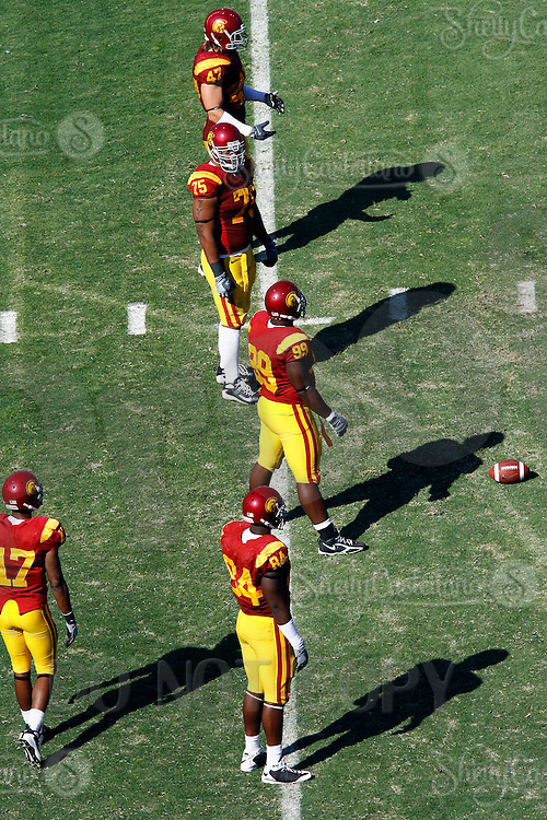11 October 2008: The offense line of scrimmage from an  elevated view during the NCAA Pac-10 USC Trojans 28-0 shut-out win over the Arizona State University Sun Devils during a day college football game at the Los Angeles Memorial Coliseum in Southern California.