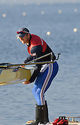 Caversham  Great Britain.<br /> Matt LANGRIDGE, lowers his boat into the water.<br /> 2016 GBR Rowing Team Olympic Trials GBR Rowing Training Centre, Nr Reading  England.<br /> <br /> Tuesday  22/03/2016 <br /> <br /> [Mandatory Credit; Peter Spurrier/Intersport-images]