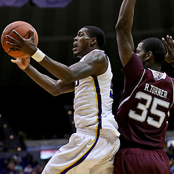Jan 23, 2013; Baton Rouge, LA, USA; LSU Tigers forward Shavon Coleman (5) shoots over Texas A&M Aggies forward Ray Turner (35) during the second half of a game at the Pete Maravich Assembly Center. LSU defeated Texas A&M 58-54. Mandatory Credit: Derick E. Hingle-USA TODAY Sports