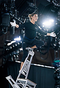 "Hand balancer Lkhagva Ochir practices his aerial chair balancing routine during rehearsal for ""Cirque du Soleil: CRYSTAL"" at the Alliant Energy Center in Madison, WI on Wednesday, May 1, 2019."