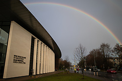 © Licensed to London News Pictures. 30/11/2018. Cardiff, UK.  A rainbow is seen in the sky above the Royal Welsh College of Music and Drama in Cardiff this morning (Friday 30th November 2018) . Photo credit: Joel Goodman/LNP