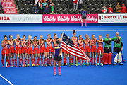 The USA Hockey team during their national anthem during the Vitality Hockey Women's World Cup 2018 Pool B match between England and Ireland at the Lee Valley Hockey and Tennis Centre, QE Olympic Park, United Kingdom on 29 July 2018. Picture by Martin Cole.
