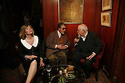 CHRISSIE BLAKE, JUSTIN DE VILLENEUVE AND PETER BLAKE, Sir Peter Blake and Poppy De Villeneuve host a party with University of the Arts London at the Arts Club, Dover Street, London. 20 APRIL 2006<br />