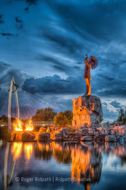 Keeper of the Plains Sunset With Flames Summer Wichita Kansas Vertical