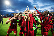 &Ouml;STERSUND, SWEDEN - AUGUST 24: Sotirios Papagiannopoulus, Hosam Aiesh, Saman Ghoddos and Aly Keita of Oestersunds FK celebrates after the victory and makes a &quot;money-sign&quot; after the UEFA Europa League Qualifying Play-Offs round second leg match between &Ouml;stersunds FK and PAOK Saloniki at J&auml;mtkraft Arena on August 24, 2017 in &Ouml;stersund, Sweden. Foto: Nils Petter Nilsson/Ombrello<br /> ***BETALBILD***