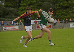 The Neale&rsquo;s Padraic Walsh tries to get past Ballinrobe&rsquo;s James Duffy during the Intermediate clash on sunday last. <br />Pic Conor McKeown