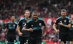 Jose Salomon Rondon of West Bromwich Albion (C) celebrates scoring his sides first goal - Mandatory by-line: Jack Phillips/JMP - 24/09/2016 - FOOTBALL - Bet365 Stadium - Stoke-on-Trent, England - Stoke City v West Bromwich Albion - Premier League