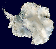 Antarctica. photographed by satellite MODIS observations of polar sea ice and combined with observations by the National Oceanic and Atmospheric Administration's AVHRR sensor—the Advanced Very High Resolution Radiometer. 2006