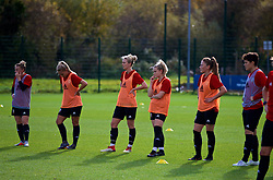 NEWPORT, WALES - Tuesday, November 6, 2018: Wales' Kylie Nolan, Charlie Estcourt, Rhiannon Roberts, Hannah Miles and Cori Williams during a training session at Dragon Park ahead of two games against Portugal. (Pic by Paul Greenwood/Propaganda)